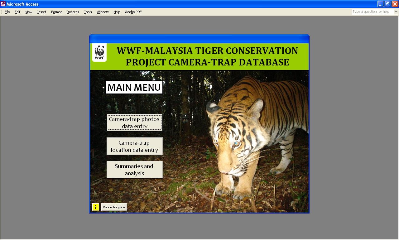 Toolbox update 5: Camera trapping database – Rimba