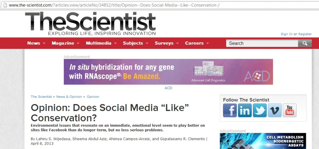 Does Social Media 'Like' Conservation?